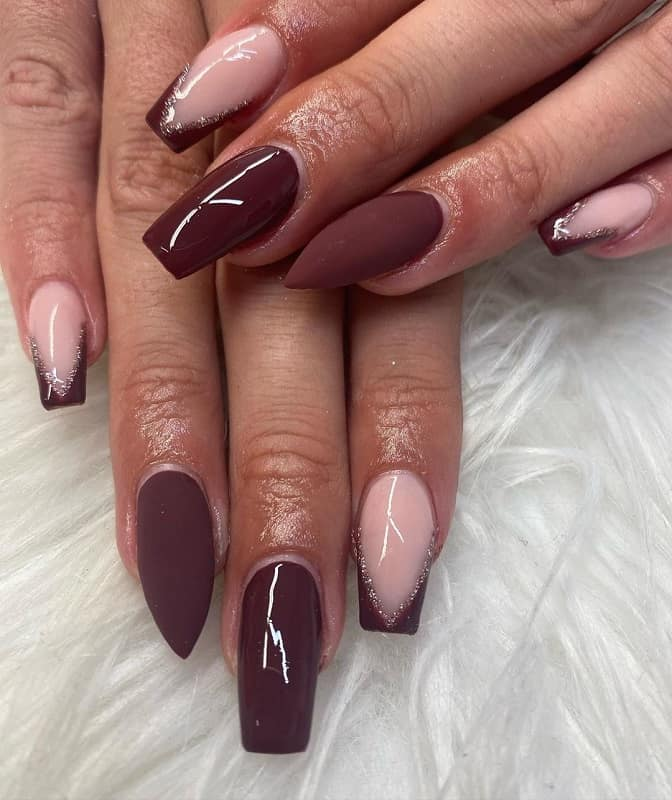 burgundy and nude nail design