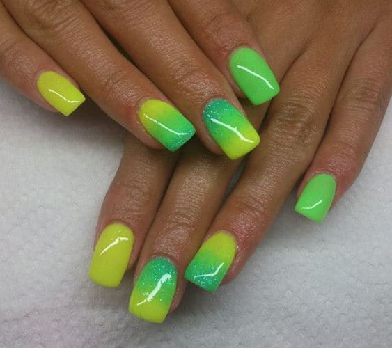 Ombre lime green nail