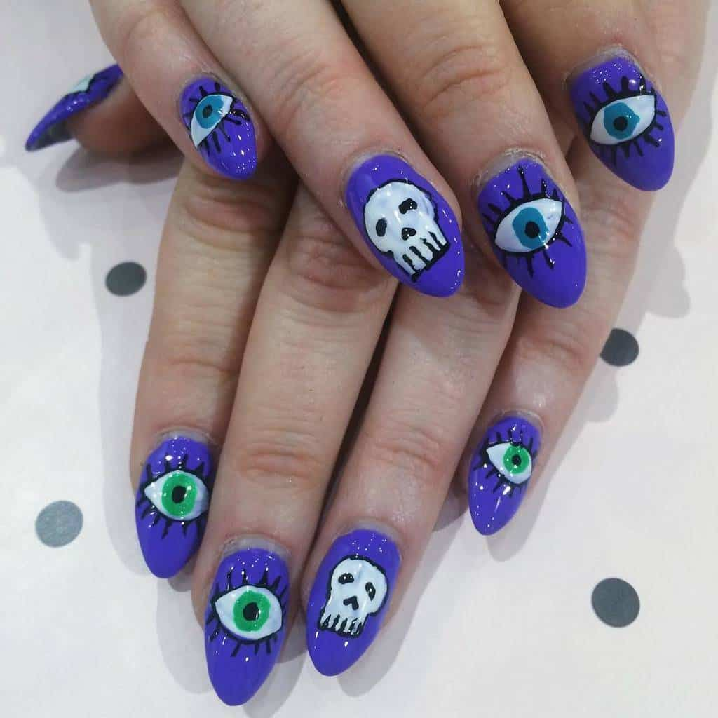 blue color Skull Nail idea