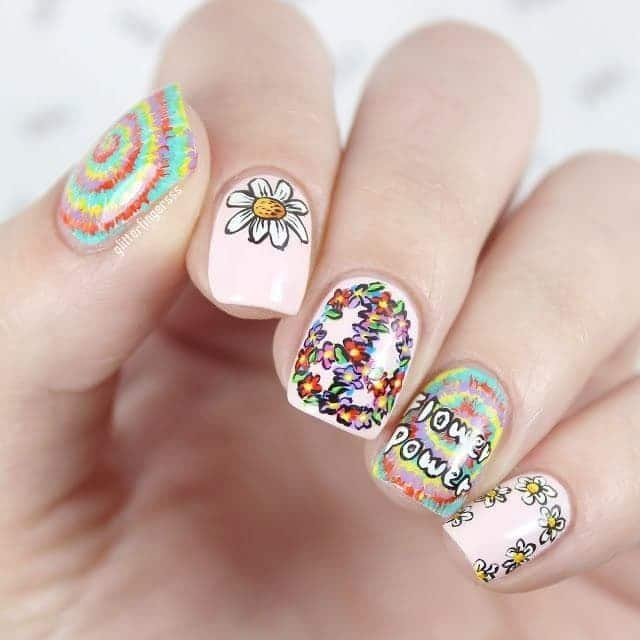 concrete drawing with Hippie Nail art