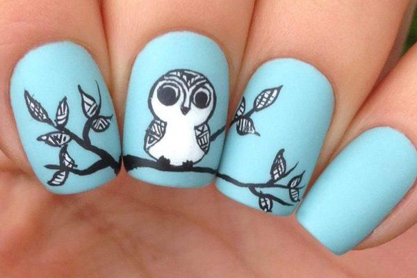 cute owl nail design