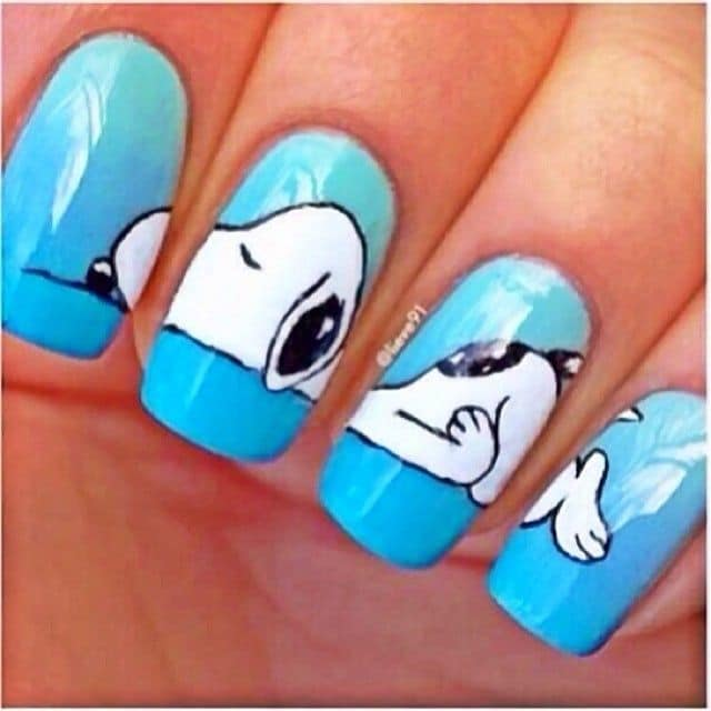 Sleepy Snoopy art for Animal Print Nail