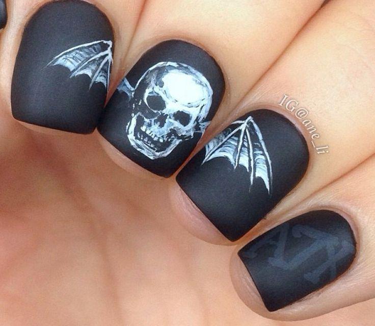 Matte black scared Skull Nail