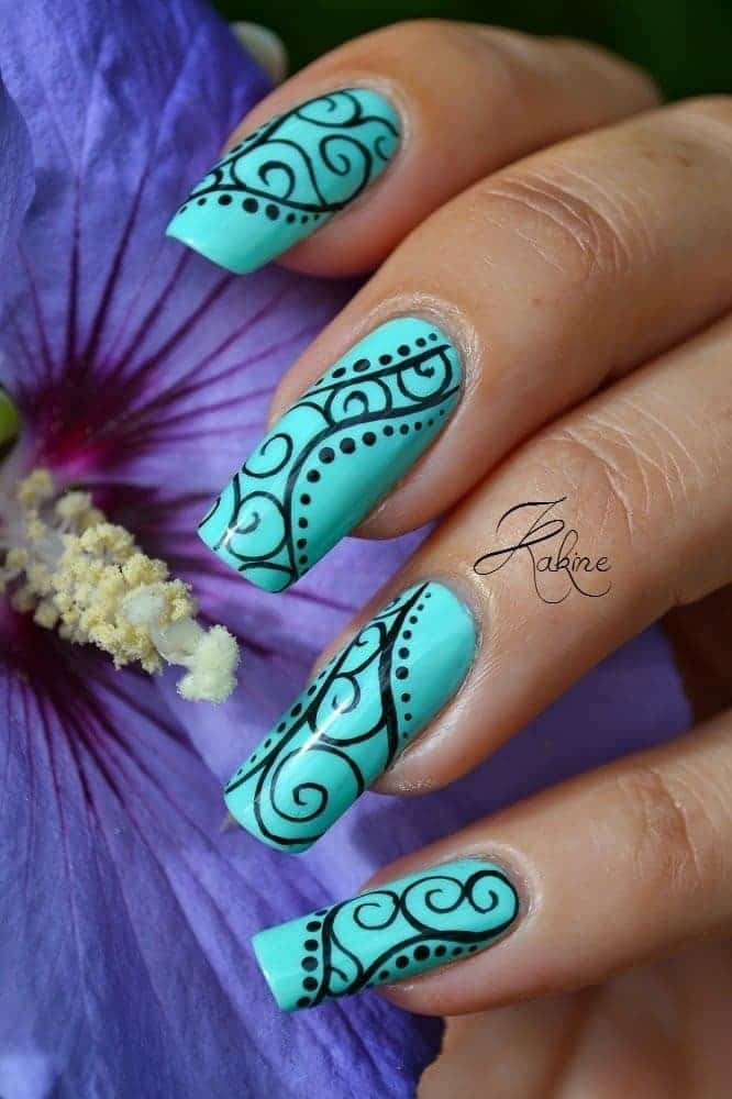 design Tiffany blue nail for girl