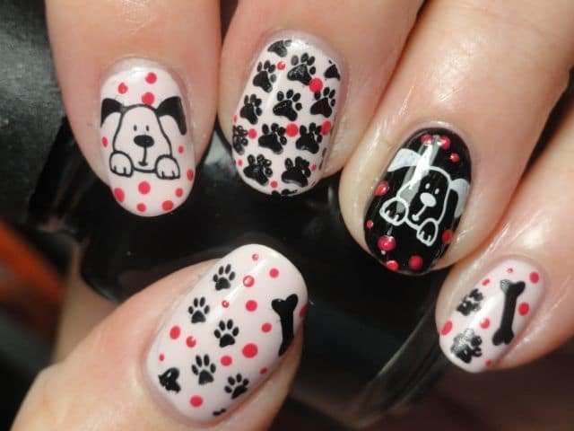 Cute Red dog nail art for girl