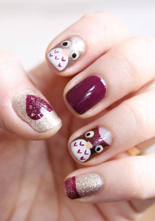 Burgundy owl nail art