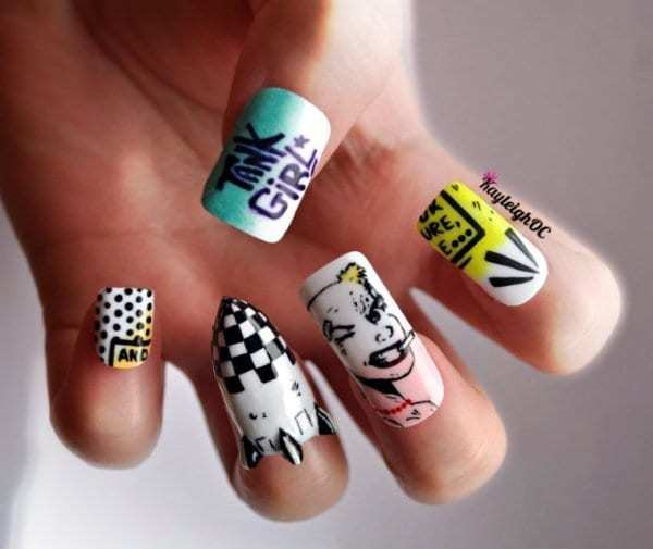 20 funky nail designs that are totally adorable naildesigncode these multicolored funky nails will look super cute on women with darker skin tones since there is a lot of green and yellow colors prinsesfo Image collections