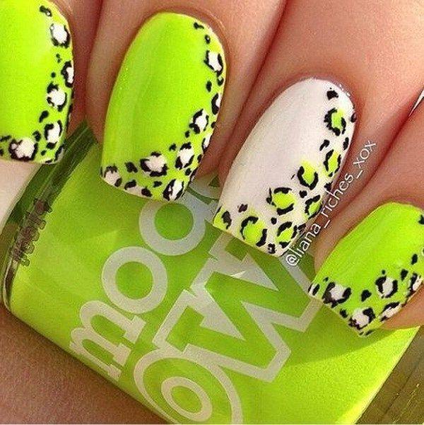 neon green leopard nail arts