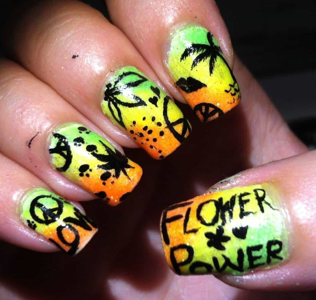 yellow color tree design hippie nail