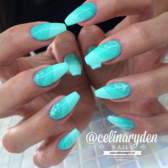 Stunning Tiffany blue nail design that is perfect for weddings and parties.  Extra long, acrylic and sharp, these nails should be your choice at least  ... - 20 Posh Tiffany Blue Nail Polish Designs – NailDesignCode