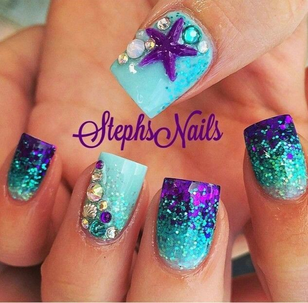Purple color Mermaid Nail Design
