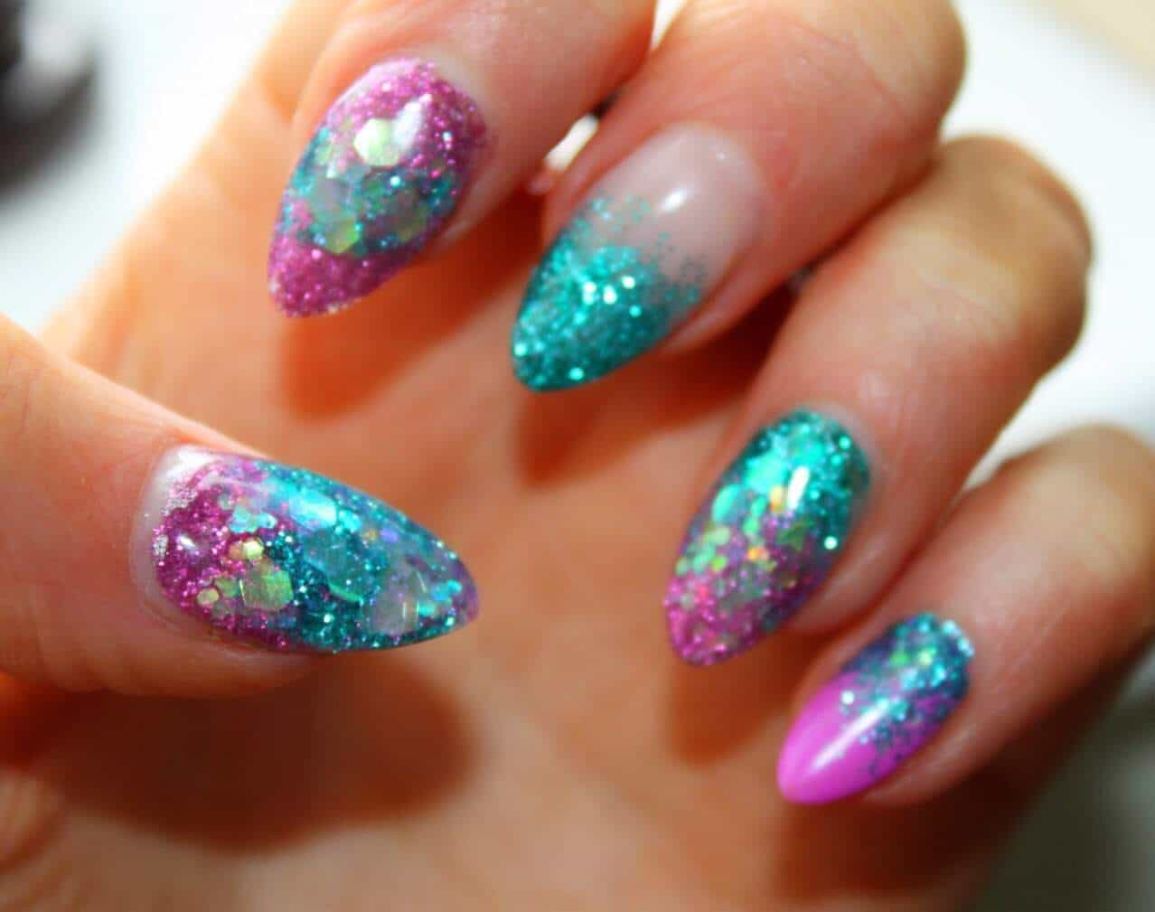 Ocean Blue Mermaid Nail Design