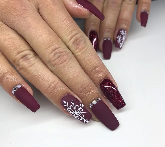 Burgundy Coffin Nails