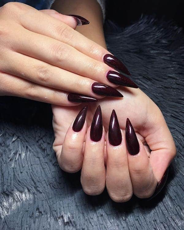 Burgundy Pointy Nails