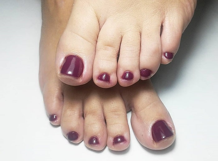 Burgundy Toe Nail Design