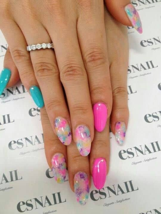 Using bright colors is considered as summer nail designs. You can have this  colorful design on your almond shaped nails too. Choose the color carefully  so ... - 30 Best Almond Shaped Nail Designs To Sneak The Peek