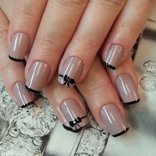 black with tan nail design you love