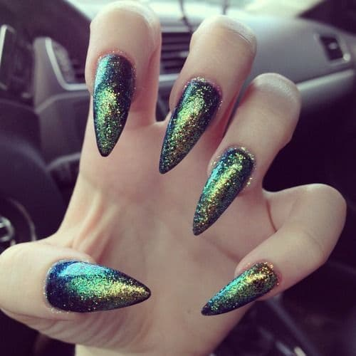 Glittery Mermaid Nail Design