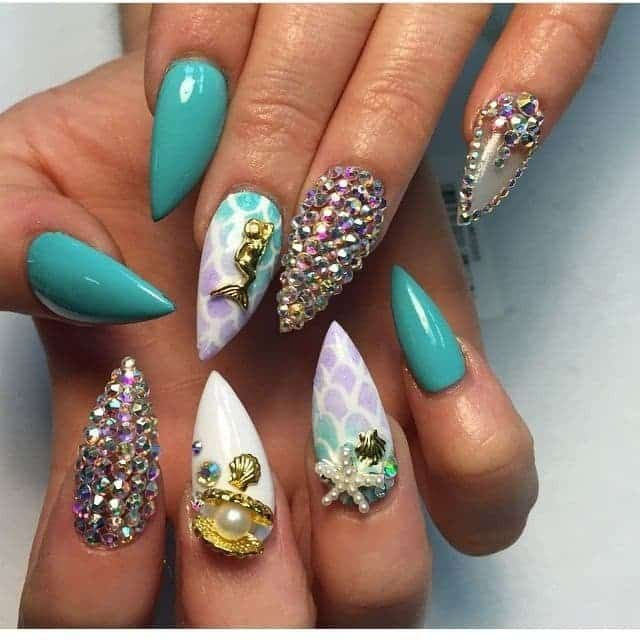 Pointy Mermaid Nail Design you love
