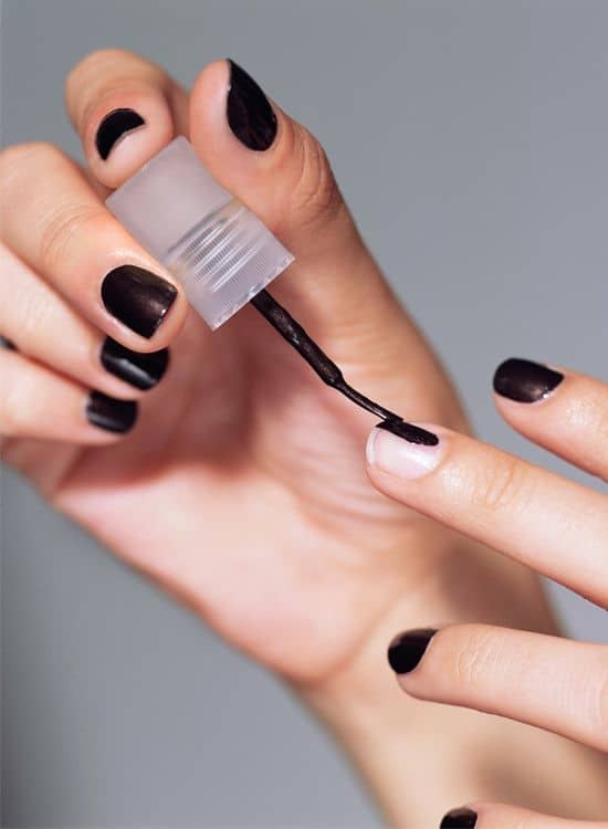 Painting Nails Black Matte