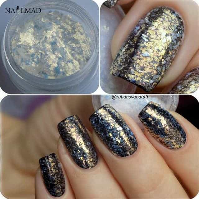 Galaxy Nail with glitter flakes