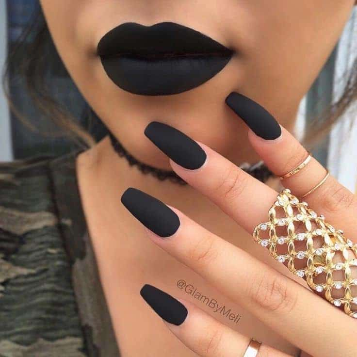 Black Manicure Paired Up With The Lips