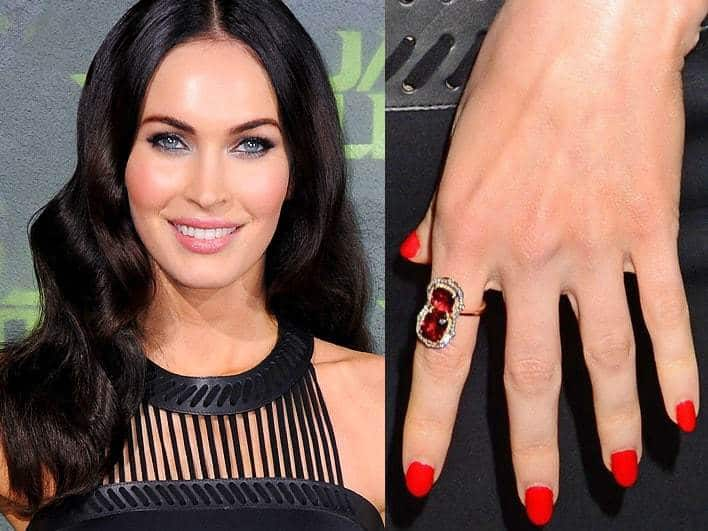 actress Megan Fox red color nail design