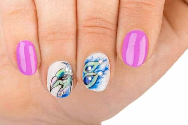 Peacock pink nail design for girl
