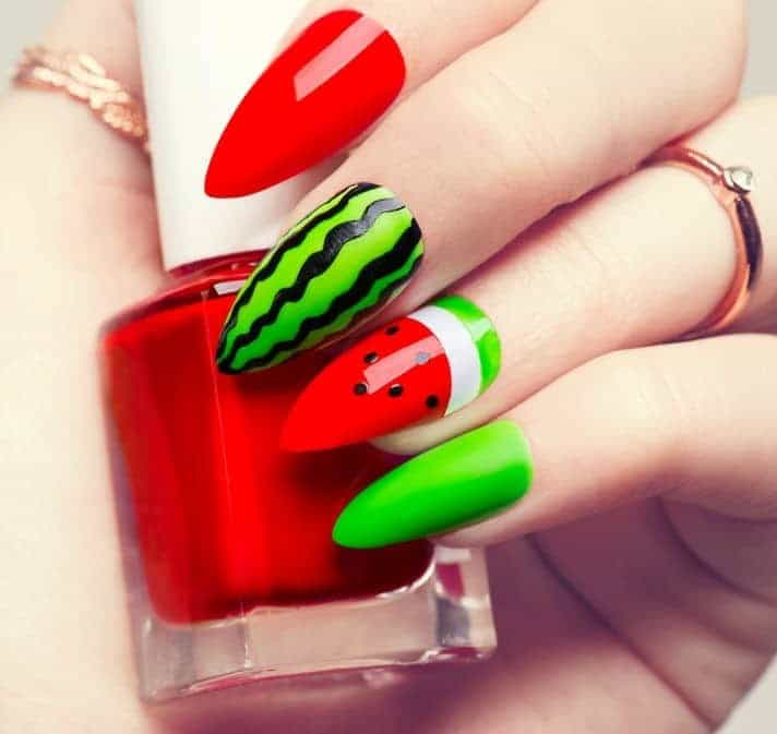 Watermelon nail design idea for women