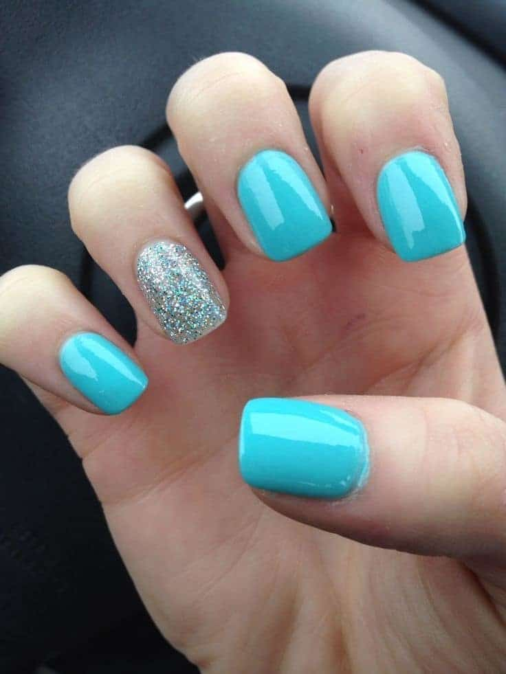 blue Acrylic Nail design idea - How Short Can Acrylic Nails Be? 25 Styles In Trend – NailDesignCode