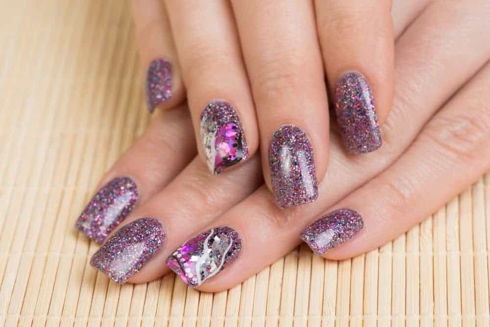 Glittery Purple nail color idea