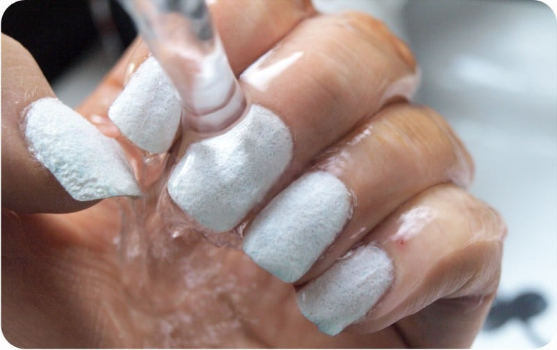 use water to dry nail polish faster