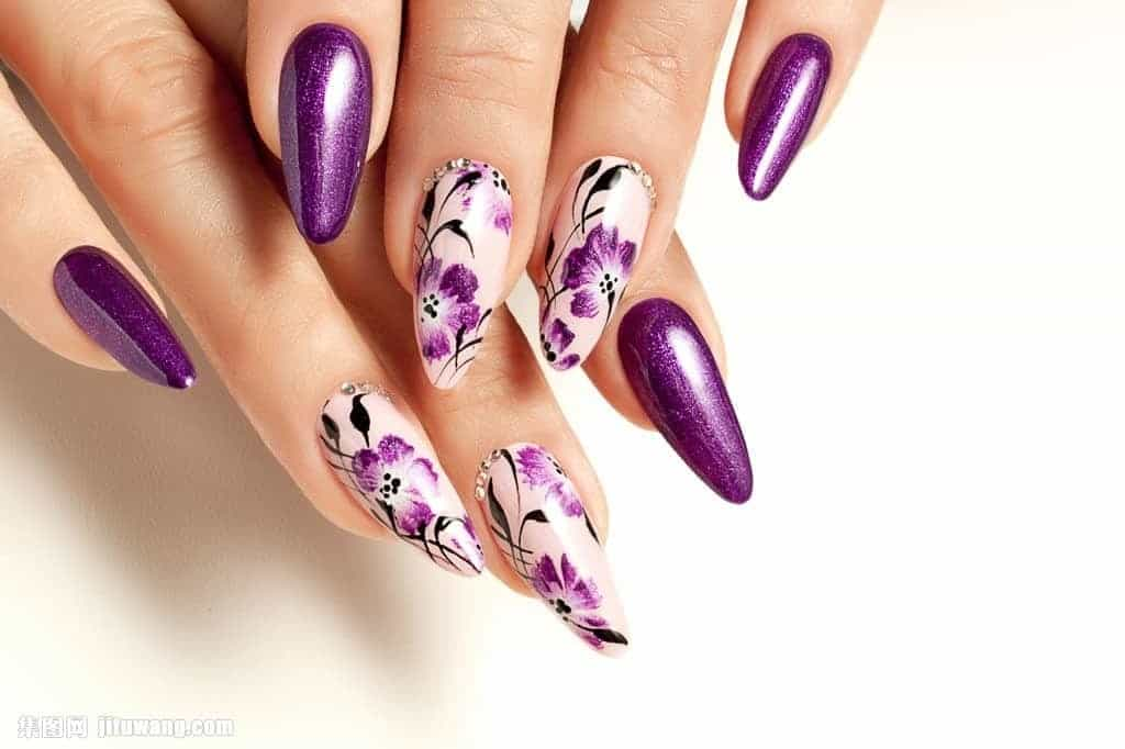 Purple with flower nail art for women