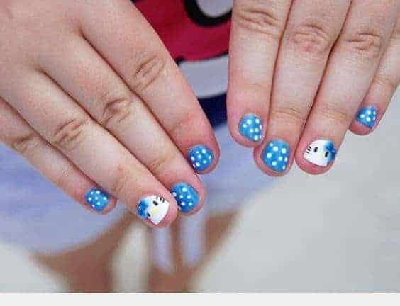 Blue Hello Kitty nail idea for baby girl