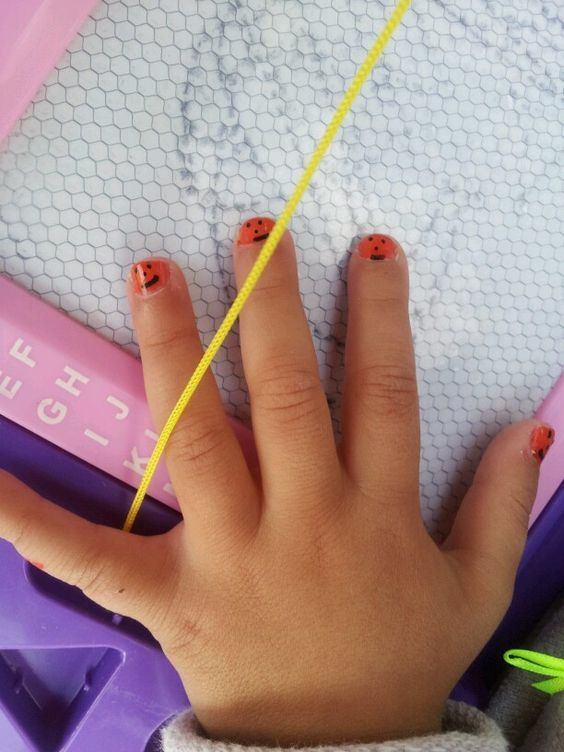 orange color nail polish design for baby