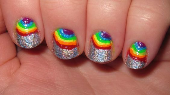 Rainbow nail design idea