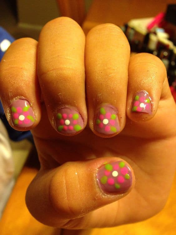 colorful nail design idea for your baby