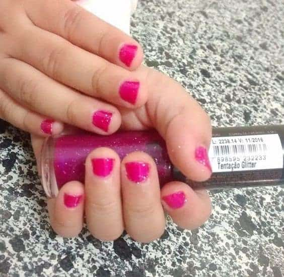 cute little Princess pink nail color idea