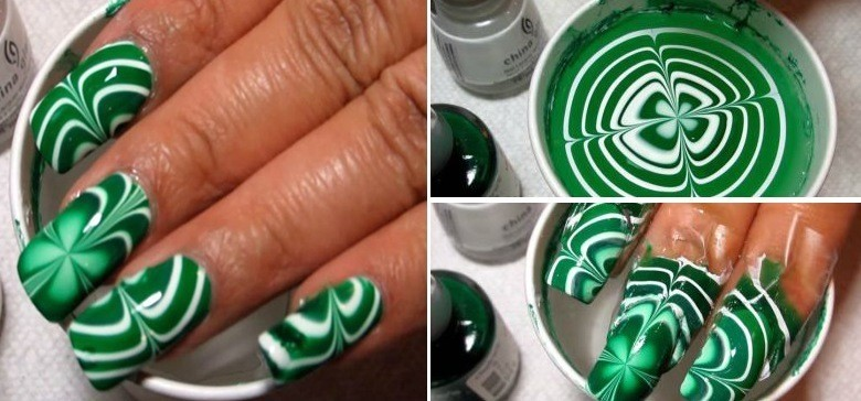 DIY Green Water Marble Nail Art