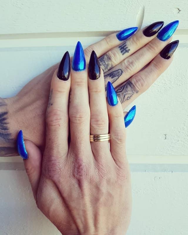 black and blue chrome nails