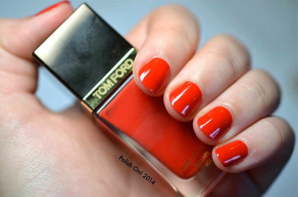 orangey red nail color