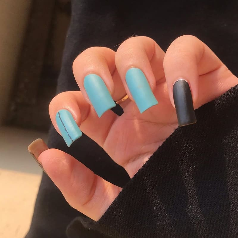 black and blue fade nails