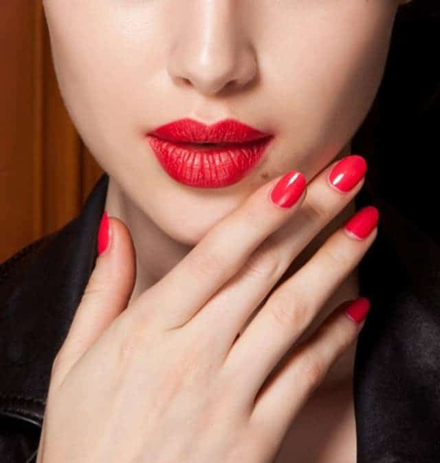 favorite red nail polish with makeup