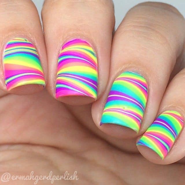 Rainbow Water Marble Nail Art