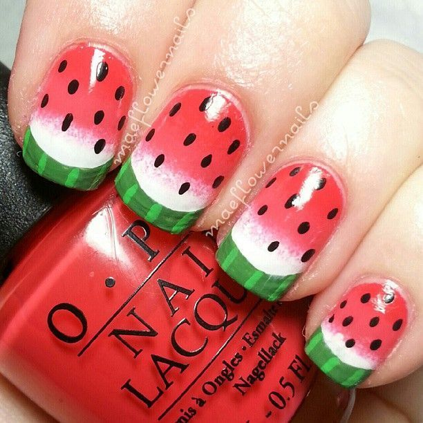 Summer Watermelon nail design
