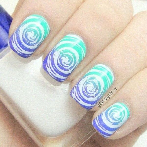 Light blue Water Marble Nail idea