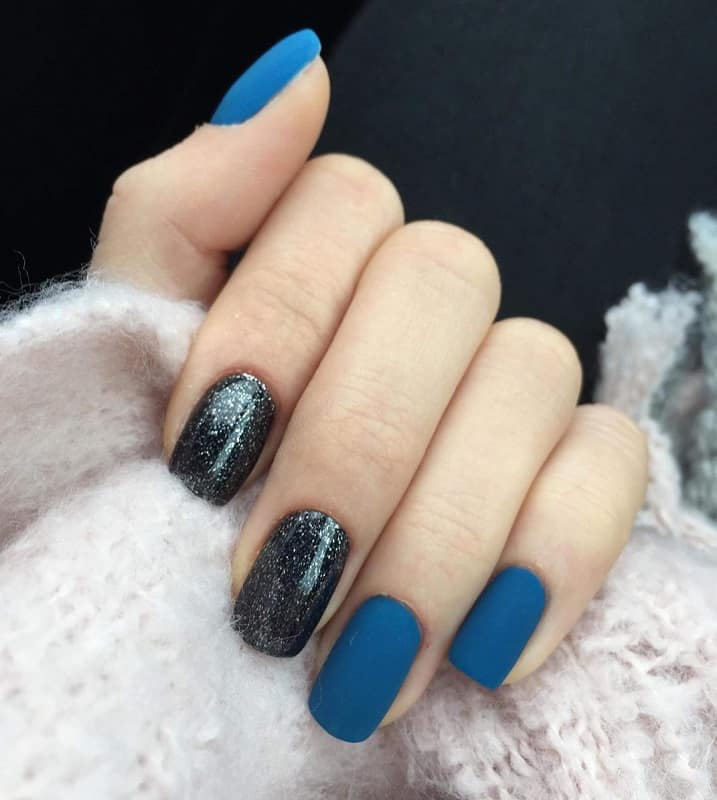 black blue and silver nails