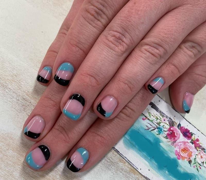 blue and black short nails