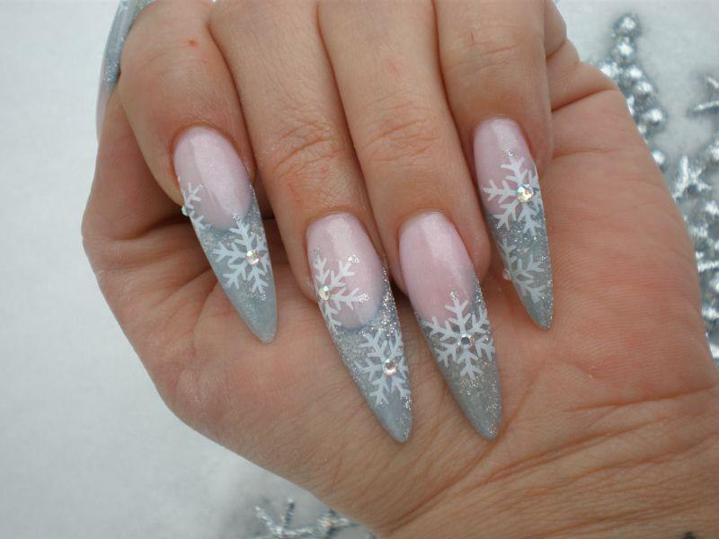winter snow acrylic nail design