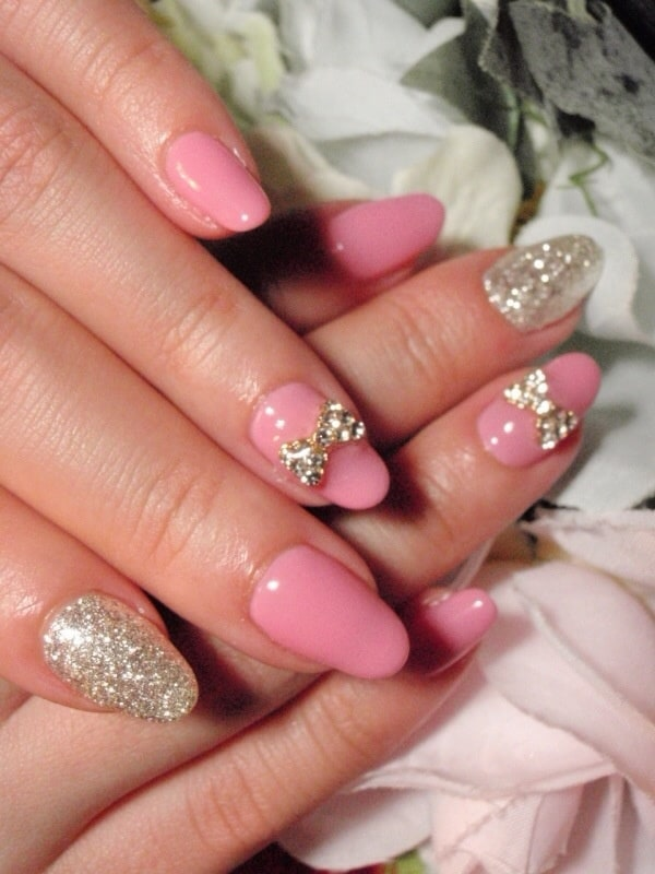 nail designs with stone bows